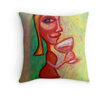 Girl with Red Wine Throw Pillow