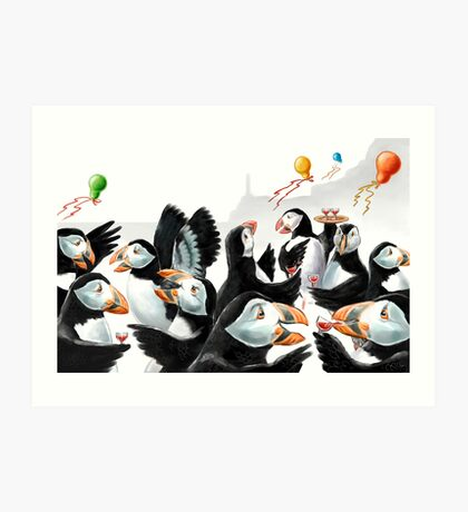 Puffin Party Art Print
