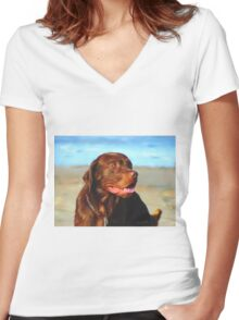 Bosco at the Beach Women's Fitted V-Neck T-Shirt