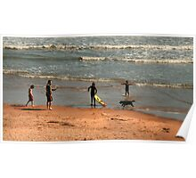 People at play on Balmedie Beach Poster