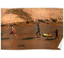 Kids at Play in the water Poster