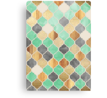 Charcoal, Mint, Wood & Gold Moroccan Pattern Canvas Print