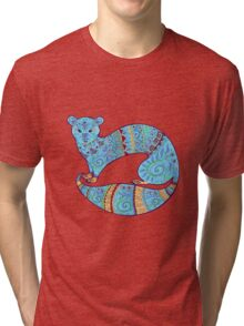 Turquoise Fuzzy Ferret Tri-blend T-Shirt