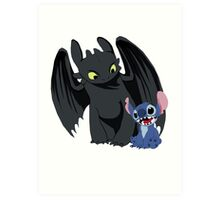 Stitch and Toothless Art Print