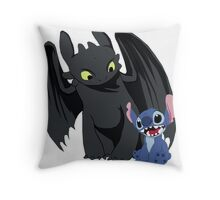 Stitch and Toothless Throw Pillow