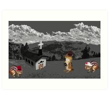 A LITTLE CHURCH GATHERING - CHIPMUNKS ARRIVAL- OH COME COME COME Art Print