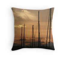 Rigging sunset Throw Pillow