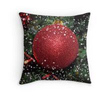 Christmas three decoration ball Throw Pillow