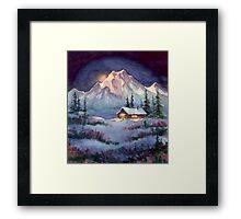 WINTER NIGHT LOG CABIN by SHARON SHARPE Framed Print