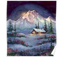 WINTER NIGHT LOG CABIN by SHARON SHARPE Poster