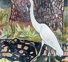 herron bird watercolor wildlife painting by derekmccrea