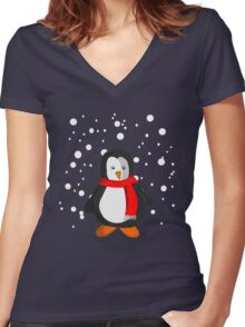 Penguin in the snow Women's Fitted V-Neck T-Shirt