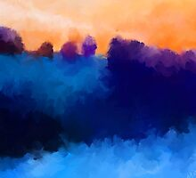 Ice, Mauve and Marmalade Abstract Landscape by Michelle Wrighton