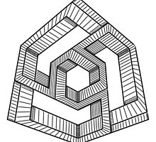 Perspective illusion cube Black and White by Studio-Tako