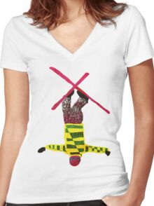 Freestyle skier Women's Fitted V-Neck T-Shirt