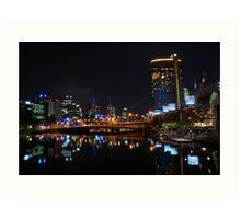 Melbourne At Night Art Print