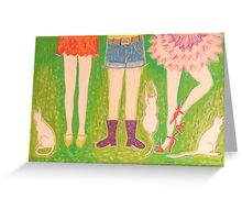 legs, shoes and cats Greeting Card