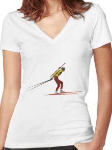 Biathlon Women's Fitted V-Neck T-Shirt