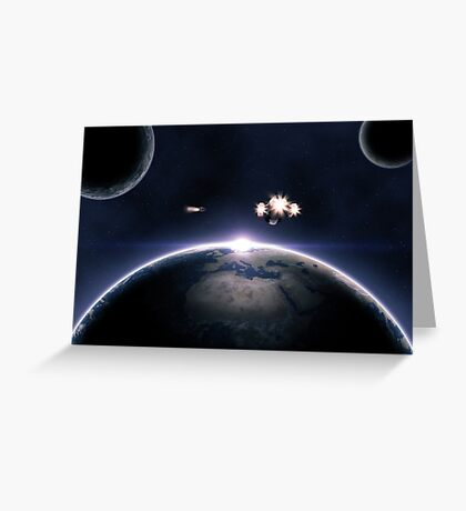 Earth planet and spaceships Greeting Card