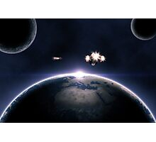 Earth planet and spaceships Photographic Print