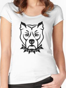 Pit bull head face Women's Fitted Scoop T-Shirt