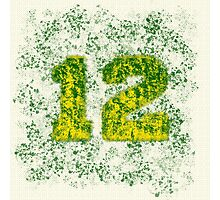 Abstract Twelve Paint Splatter - Green On Yellow Photographic Print