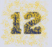 Abstract Twelve Paint Splatter - Dark Blue On Yellow by EmeraldRaindrop
