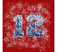 Abstract Twelve Paint Splatter - Blue On Red Photographic Print
