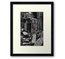 Woman with Boy - Temples of Angkor, Cambodia Framed Print