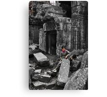 Woman with Boy - Temples of Angkor, Cambodia Canvas Print