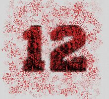 Abstract Twelve Paint Splatter - Red On Black by EmeraldRaindrop