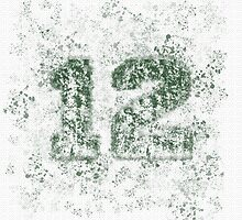 Abstract Twelve Paint Splatter - Dark Green On White by EmeraldRaindrop