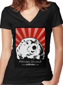 Phil Rules. Do you? (Punxsutawney) Women's Fitted V-Neck T-Shirt