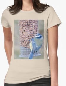 Feeding time for Blue Tit............ Womens Fitted T-Shirt