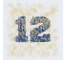 Abstract Twelve Paint Splatter - Gold on Blue Photographic Print