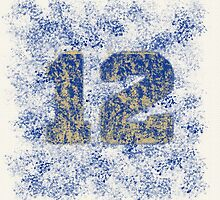 Abstract Twelve Paint Splatter - Blue On Gold by EmeraldRaindrop