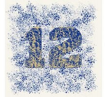 Abstract Twelve Paint Splatter - Blue On Gold Photographic Print