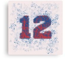 Abstract Twelve Paint Splatter - Red On Blue Canvas Print