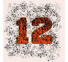 Abstract Twelve Paint Splatter - Black On Orange Photographic Print