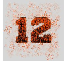 Abstract Twelve Paint Splatter - Orange On Black Photographic Print