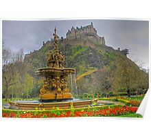 Fountain and Castle Poster