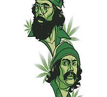 Cheech and Chong - Weed Portrait by TenaciousTees