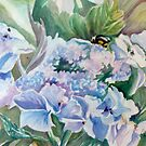 Bee on Blooms in Blue by Carolyn Bishop