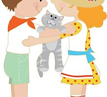 Kids and Kitten by Maria Bell