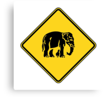 Caution Elephants Crossing ⚠ Thai Road Sign ⚠ Canvas Print