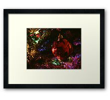 Red on Green with Blue, Yellow, and Purple Framed Print