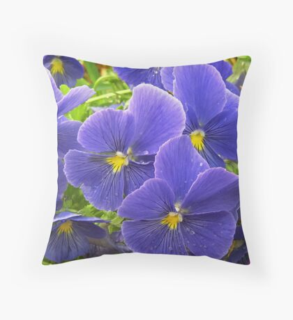 Lavender Icicle Pansies After Rainfall Throw Pillow