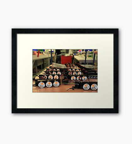 assembly of LED lights in manufacturing Framed Print