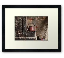 old teapot in an abandoned house Framed Print