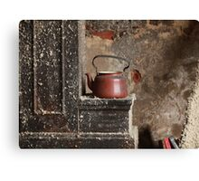 old teapot in an abandoned house Canvas Print